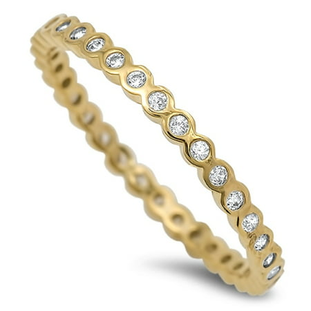 Yellow Gold- Tone Plated Rounded Stackable Eternity Cubic Zirconia Ring Sterling Silver