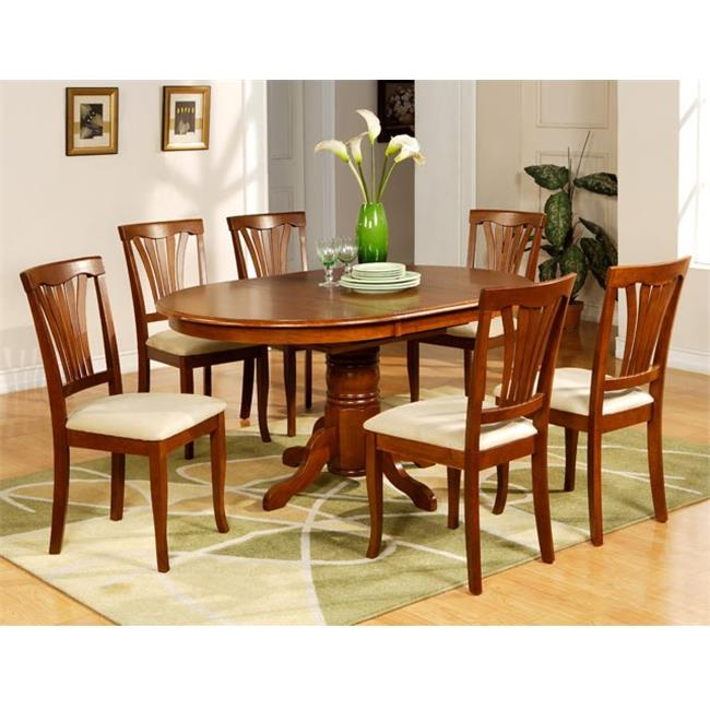 Wooden Imports Furniture AV7-SBR-C 7PC Avon Dining Table and 6 Microfiber Upholstered Seat Chairs in Saddle Brown Finish
