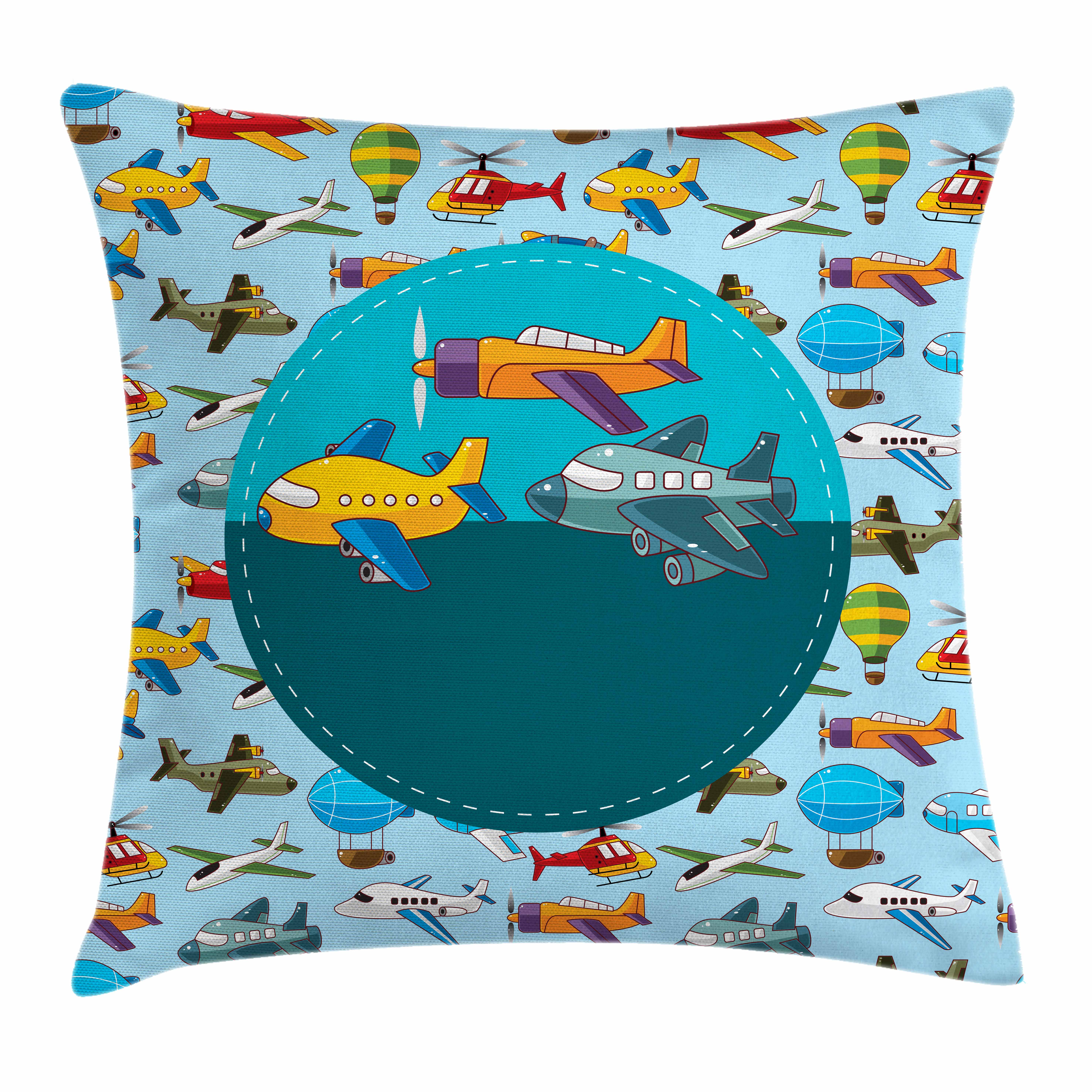 Kids Party Throw Pillow Cushion Cover, Colorful Retro Style Various Cartoon Airplanes Air Balloons Zeppelins Boys Kids, Decorative Square Accent Pillow Case, 16 X 16 Inches, Multicolor, by Ambesonne