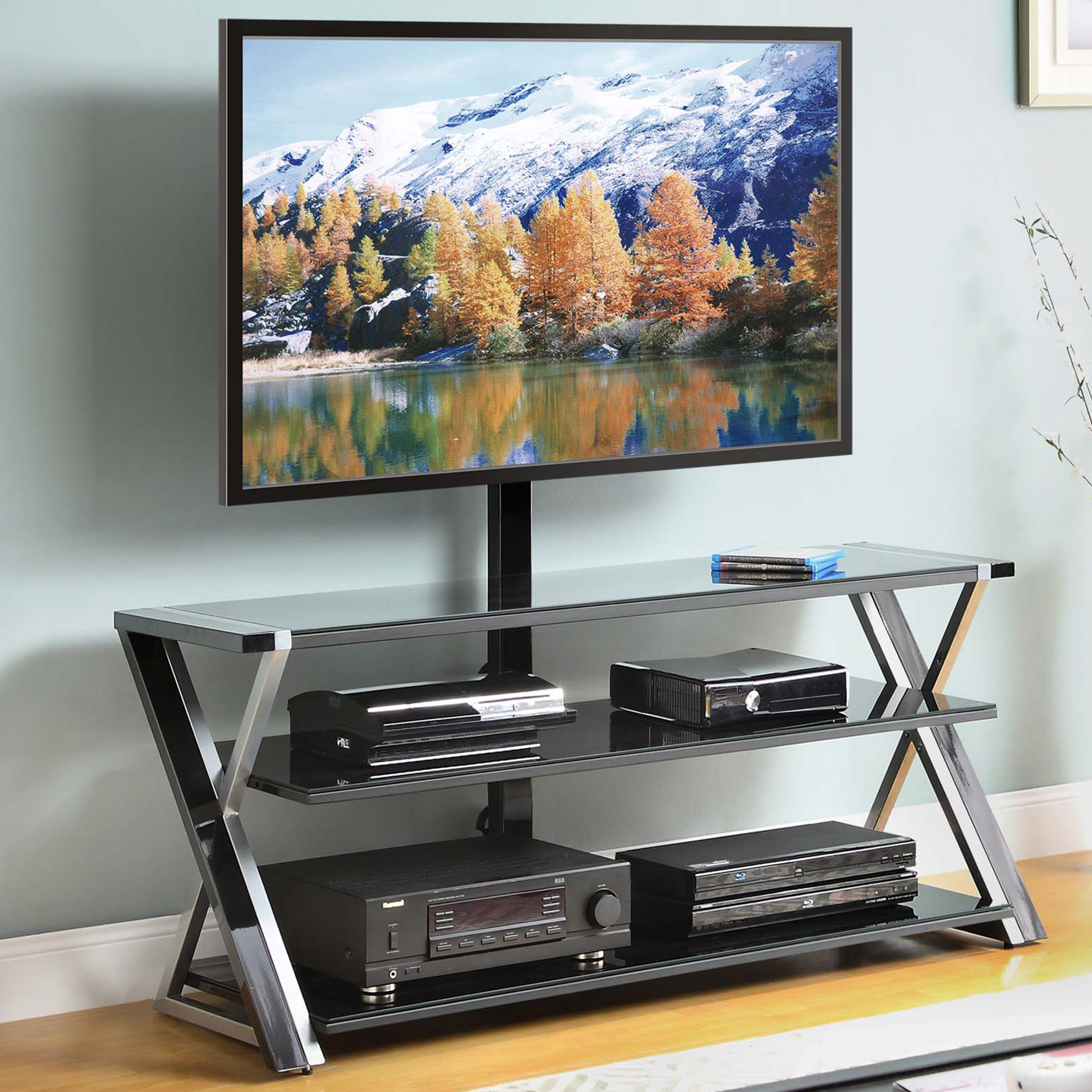 Whalen 3 In 1 Black Tv Console For Tvs Up To 70 Black Glass