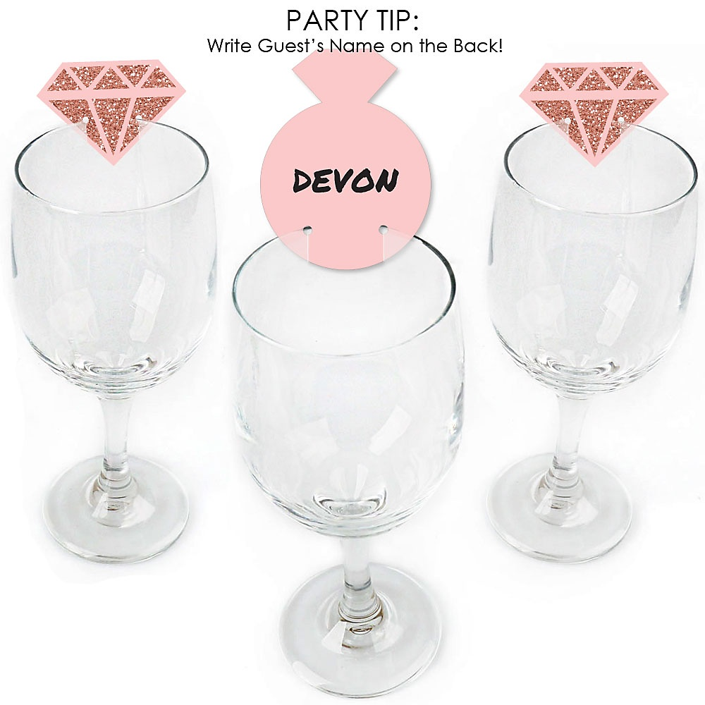 Wine Glass Charms Set of 6 Rose Pattern China Tea Party Charms Bridal Shower