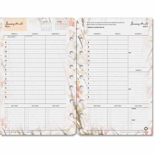 """Franklin Covey Blooms Dated Weekly/Monthly Planner Refill, Jan-Dec, 5-1/2"""" x 8-1/2"""", 2017"""