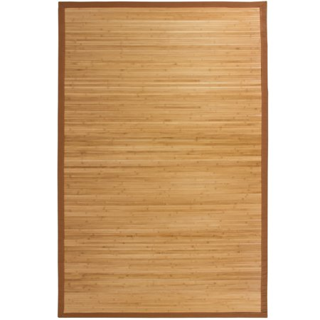 Best Choice Products Indoor 5x8ft Bamboo Runner Area Rug Accent Decoration for Bathroom, Living Room w/ Cotton-Twill Border, Non-Slip Padded Backing