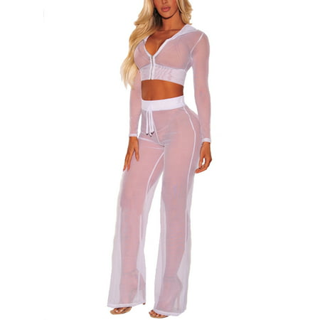 - Women See Through Sheer Mesh Hoodie Crop Tops and legging Pants Sexy 2pcs Bikini Swimsuit Cover-ups Beach Outfits