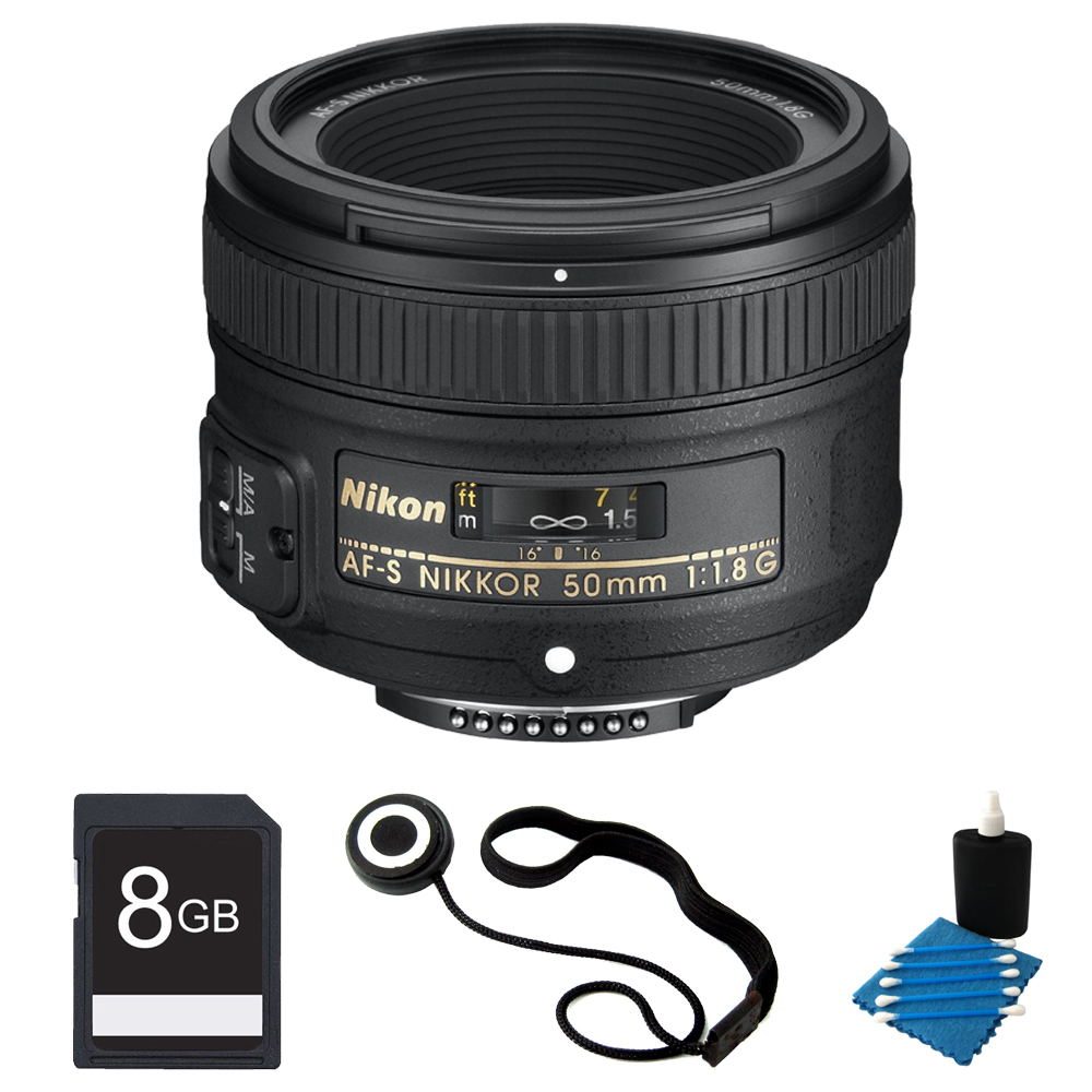 Nikon 50mm f/1.8G AF-S NIKKOR Lens Bundle for Nikon Digital SLR Cameras (2199) with 8GB Secure Digital SD Memory Card, 3pc. Lens Cleaning Kit, and Lens Cap Keeper
