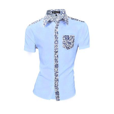 44 Pocket - Unique Bargains Men's Casual Single Breasted Short Sleeve Pocket Floral Print Shirt