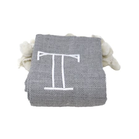 8 Oak Lane Monogram Throw - T Blanket