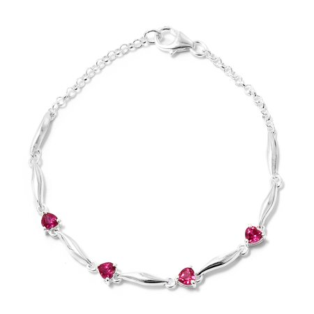 Sterling Silver Ruby Bracelet (925 Sterling Silver Created Ruby Fashion Love Heart Valentines Bracelet For Women 7.25