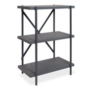 Kate and Laurel - Walsh Free-Standing 3-Tier Bookcase with Wooden Frame and Shelves for Display and Storage, Faux Slate Concrete