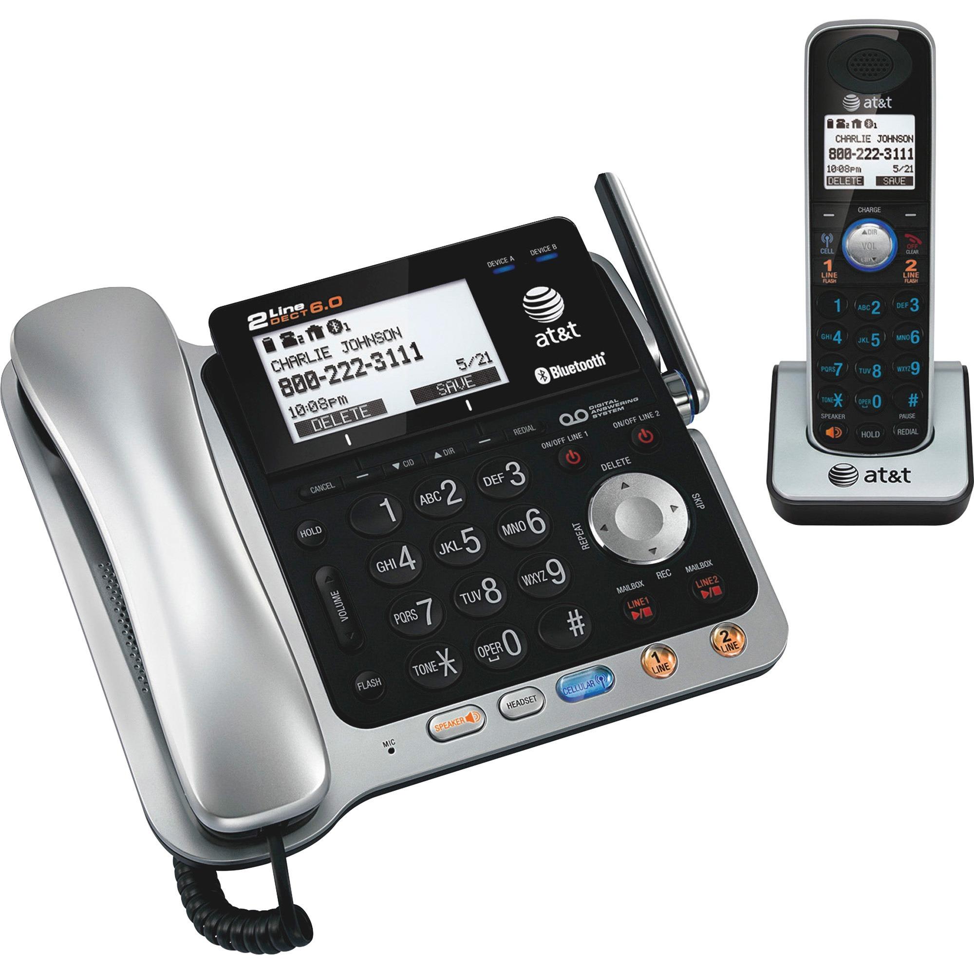 Att Atttl 0 2 Line Telephone System With Handset 1 Blacksilver Walmart Com