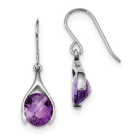 (925 Sterling Silver Purple Amethyst Shepherds Hook Drop Dangle Chandelier Earrings For Women)