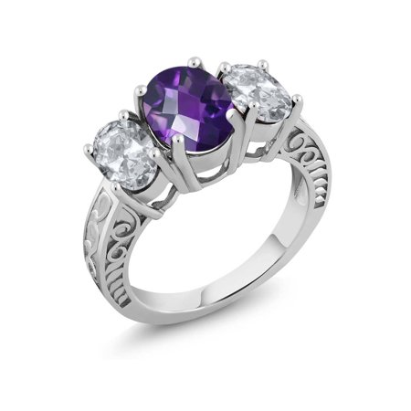 3.40 Ct Oval Checkerboard Purple Amethyst White Topaz 925 Sterling Silver Ring