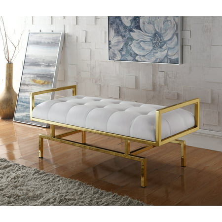 Chic Home Katharine PU Leather Modern Contemporary Tufted Seating Goldtone Metal Leg Bench, White ()