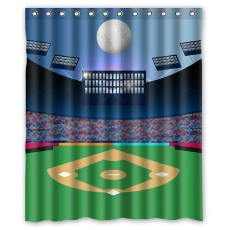 DEYOU Love Sport Cool Baseball In Stadium Shower Curtain Polyester Fabric Bathroom Size 60x72