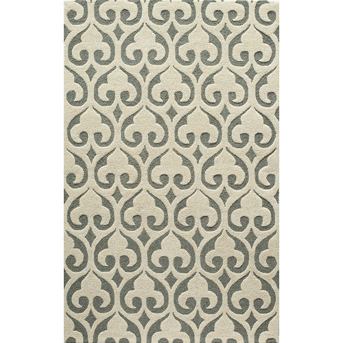 DUNES COLLECTION 100% Wool Pile Indian Hand Tufted Rug in IVORY