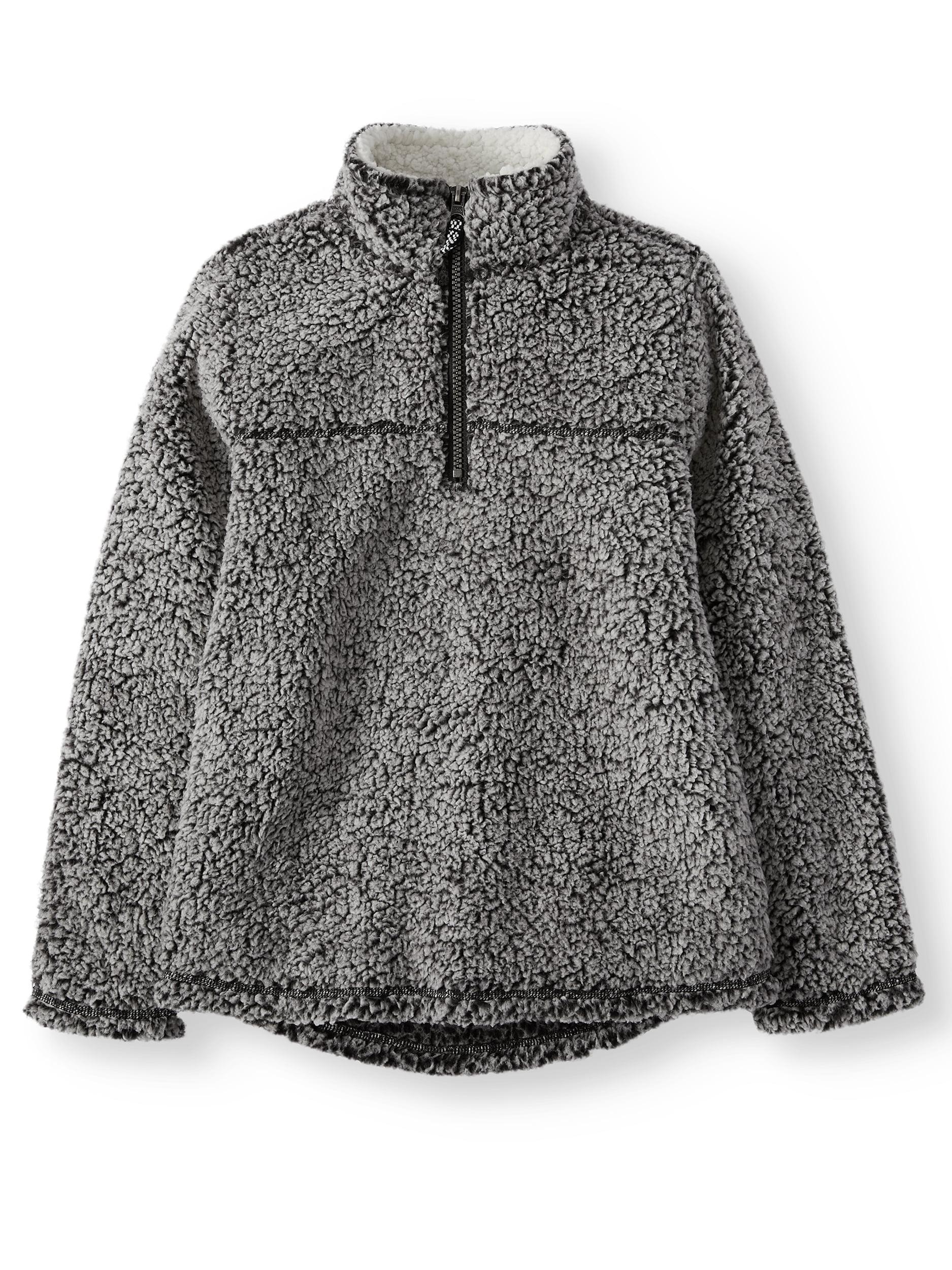Mock Neck Quarter Zip Boucle Lined Sherpa Jacket (Toddler Boys)