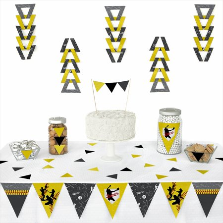 Grand Slam - Fastpitch Softball - Triangle Birthday Party or Baby Shower Decoration Kit - 72 Piece