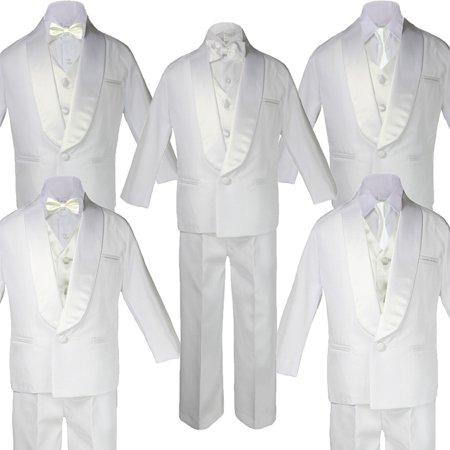 Baby Teen White Satin Shawl Lapel Suits Tuxedo IVORY Satin Bow Necktie (Satin Shawl Vest)