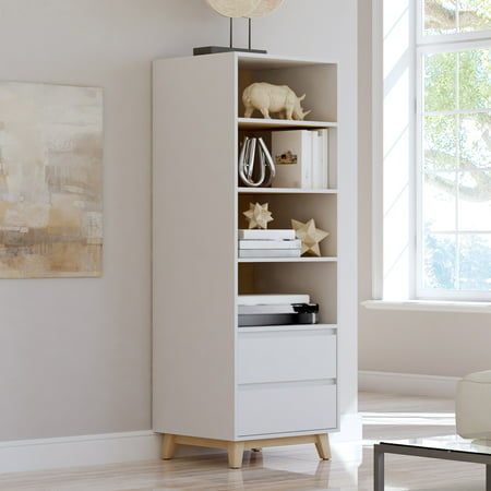 Mainstays Mid-Century Tower Book Shelf for Storage and Display, White with Natural Finished Accents - Mobile Book Display