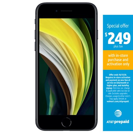 AT&T PREPAID Apple iPhone SE (2020) 64GB Prepaid, Black
