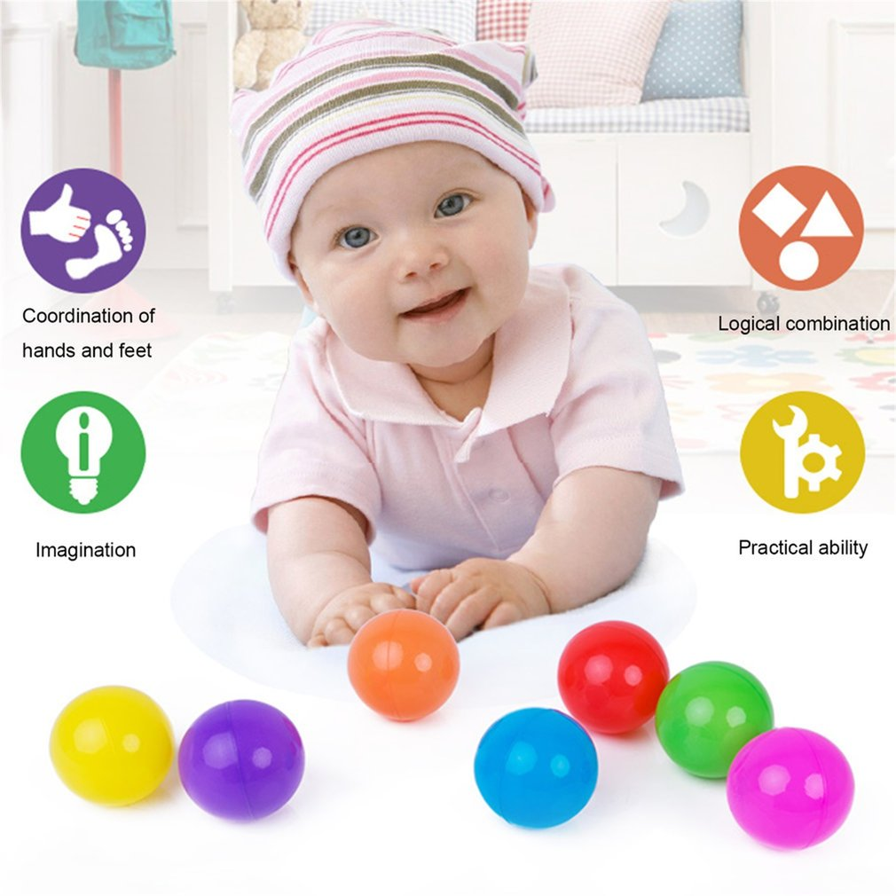 50pcs Colorful Ball Soft Plastic Ball Funny Bath Swim Ball Toy For Baby Kid by OUTAD