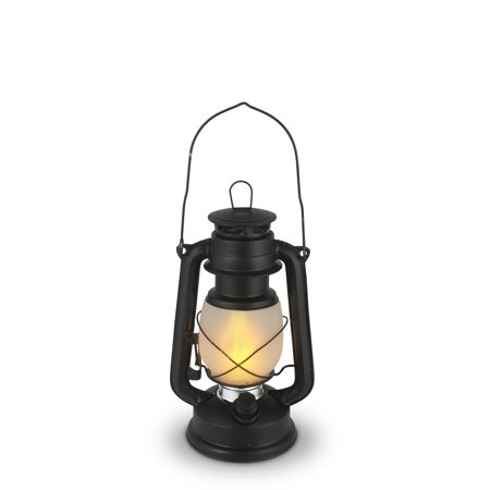 """Set of 2 Black and Silver Colored Antique Style LED Lantern with Frosted Glass Globe Body 9.5"""""""