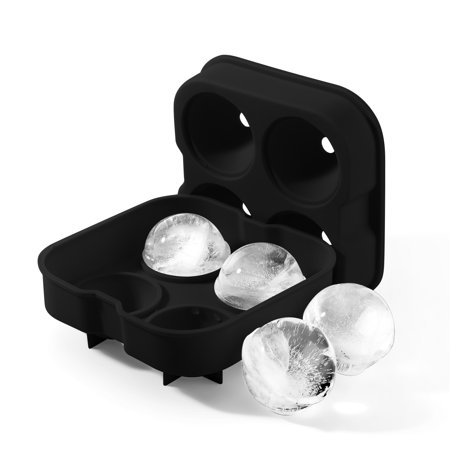 Ice Ball Mold Maker, Round Ice Spheres Ice Cube Tray Mold for Whiskey - Flexible Silicone Mold with Lids for 1.8