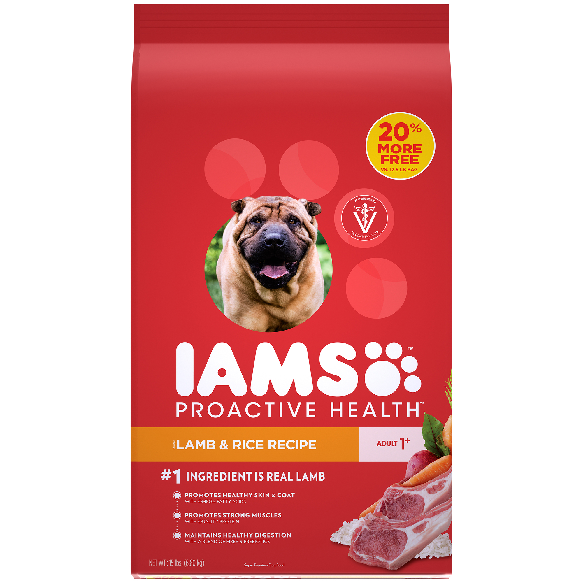 IAMS PROACTIVE HEALTH Adult Dry Dog Food Lamb and Rice, 15 lb. Bag