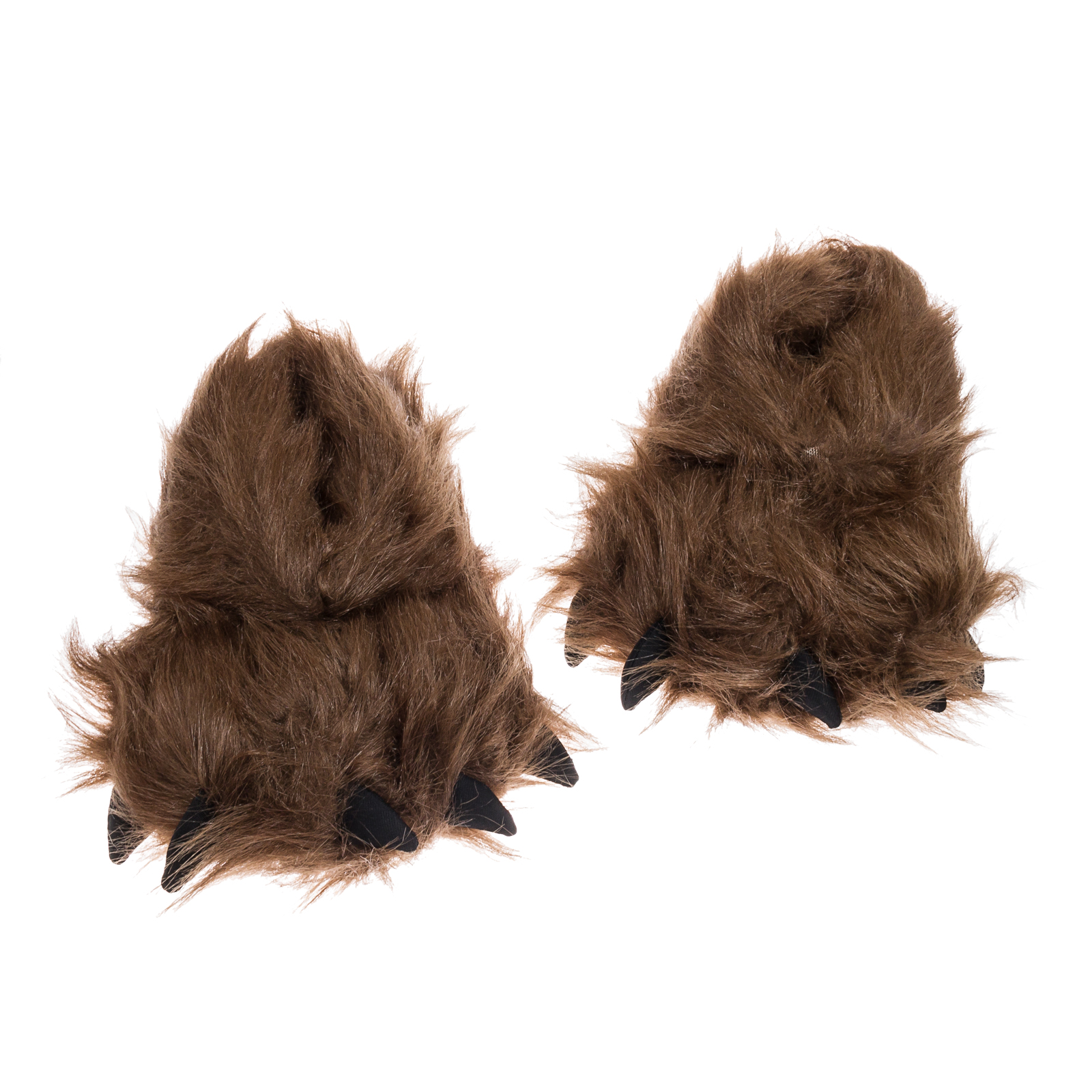 Brown Plush Bear Paw Slippers Footwear Halloween Costume Accessory (Small)