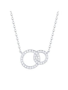 776c5b21c20 Product Image Carleen 18K White Gold Plated 925 Sterling Silver Round CZ  Cubic Zirconia Minimalism Dainty Pendant Necklace
