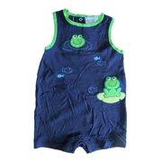 Baby Girls Navy Blue Frog Fish Embroidered Sleeveless Bodysuit 12-24M