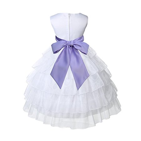 - Ekidsbridal White Satin Shimmering Organza Flower Girl Dresses Wedding Pageant Dresses Formal Special Occasion Dresses Holy Communion Baptism Reception Recital Holiday Seasonal Ball Gown 308S