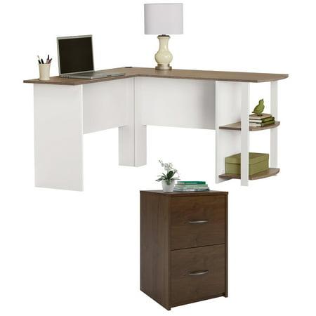 Desk and File Cabinet Set, Ameriwood Home Core 2 Drawer File Cabinet - L-Shaped Desk with Side Storage, Multiple -