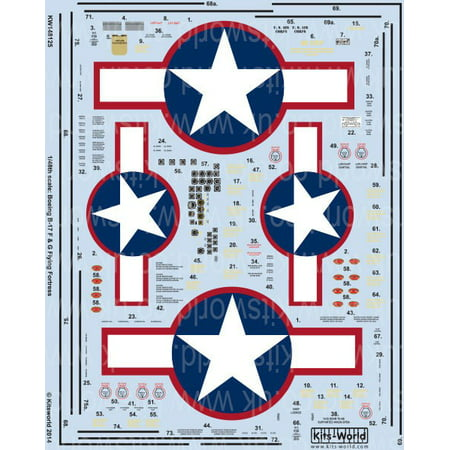 1/48 B17F/G Red Outlined Stars & Bars, General Stenciling, Cockpit Instrumentation & Walkways Outline Stickers Stars