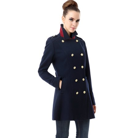 Women's 'Victoria' Wool Blend Fitted Military Melton (Silk Fitted Jacket)