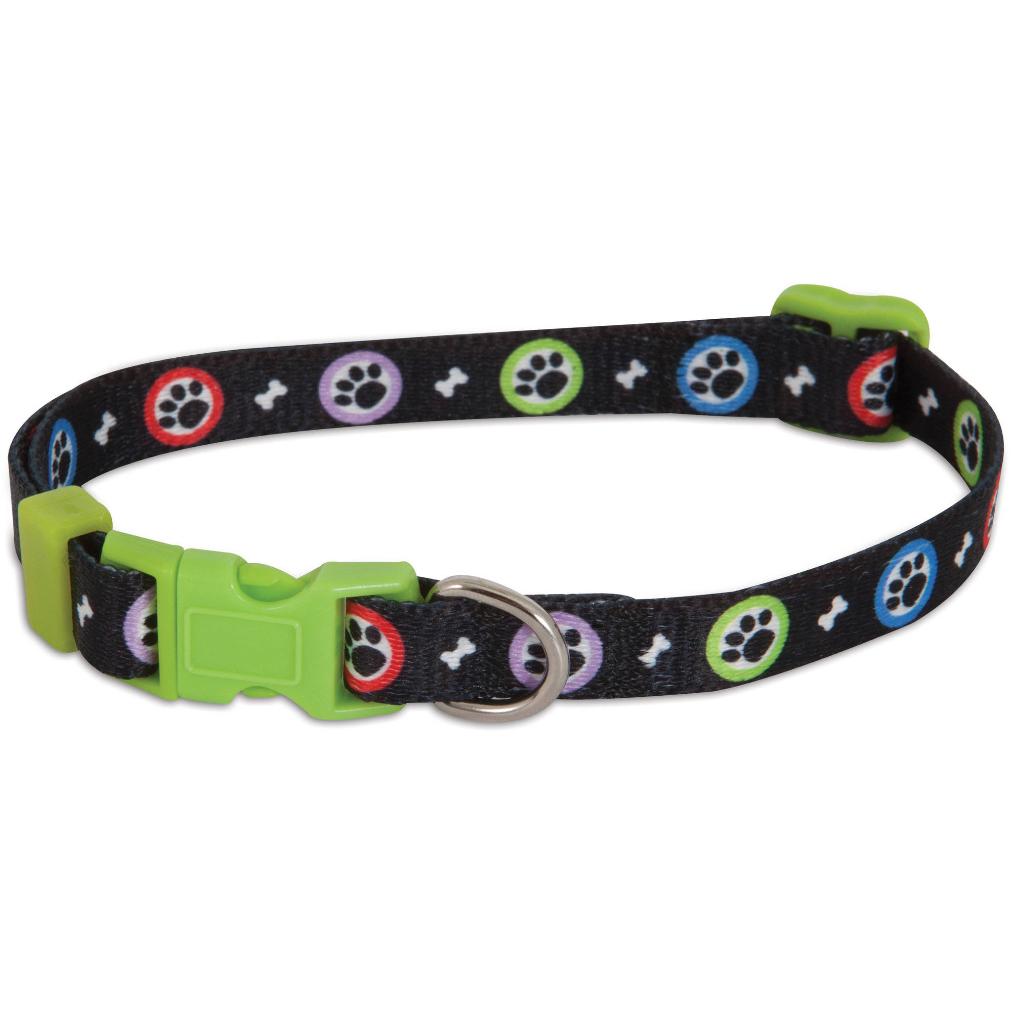 Aspen Pet Adjustable Dog Collar Paws Print, (Medium)