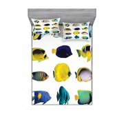 Aqua Bedding Set with Sheet & Covers, Tropical Fish Animal with Zebrasoma Anemonefish Dive Nemo Aquatic Life Theme, Printed Bedroom Decor 2 Shams, 4 Sizes, Multicolor, by Ambesonne