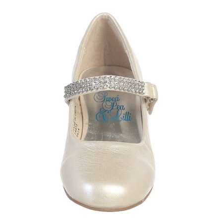 Toddler Girls Ivory Rhinestone Strap Mia Special Occasion Dress Shoes - White Dress Ivory Shoes