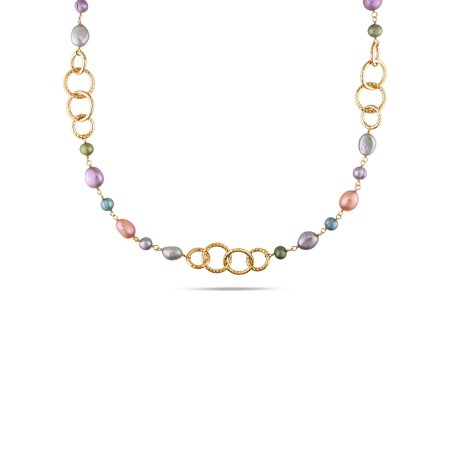 35' Diameter Color - Tangelo Multi-Color Freshwater Cultured Pearl Brass Hammered Link Necklace, 35