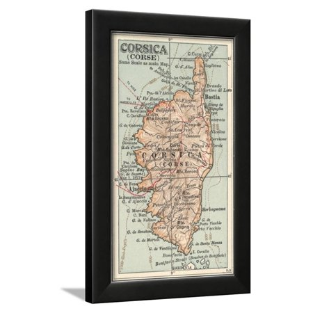 Plate 18. Inset Map of Corsica (Corse). Europe Framed Print Wall Art By Encyclopaedia (Corsica Framed)