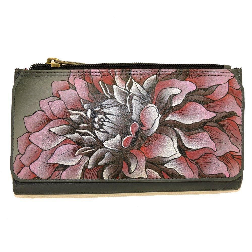 anuschka leather organizer clutch wallet hand painted (dreamy dahlias-pink)