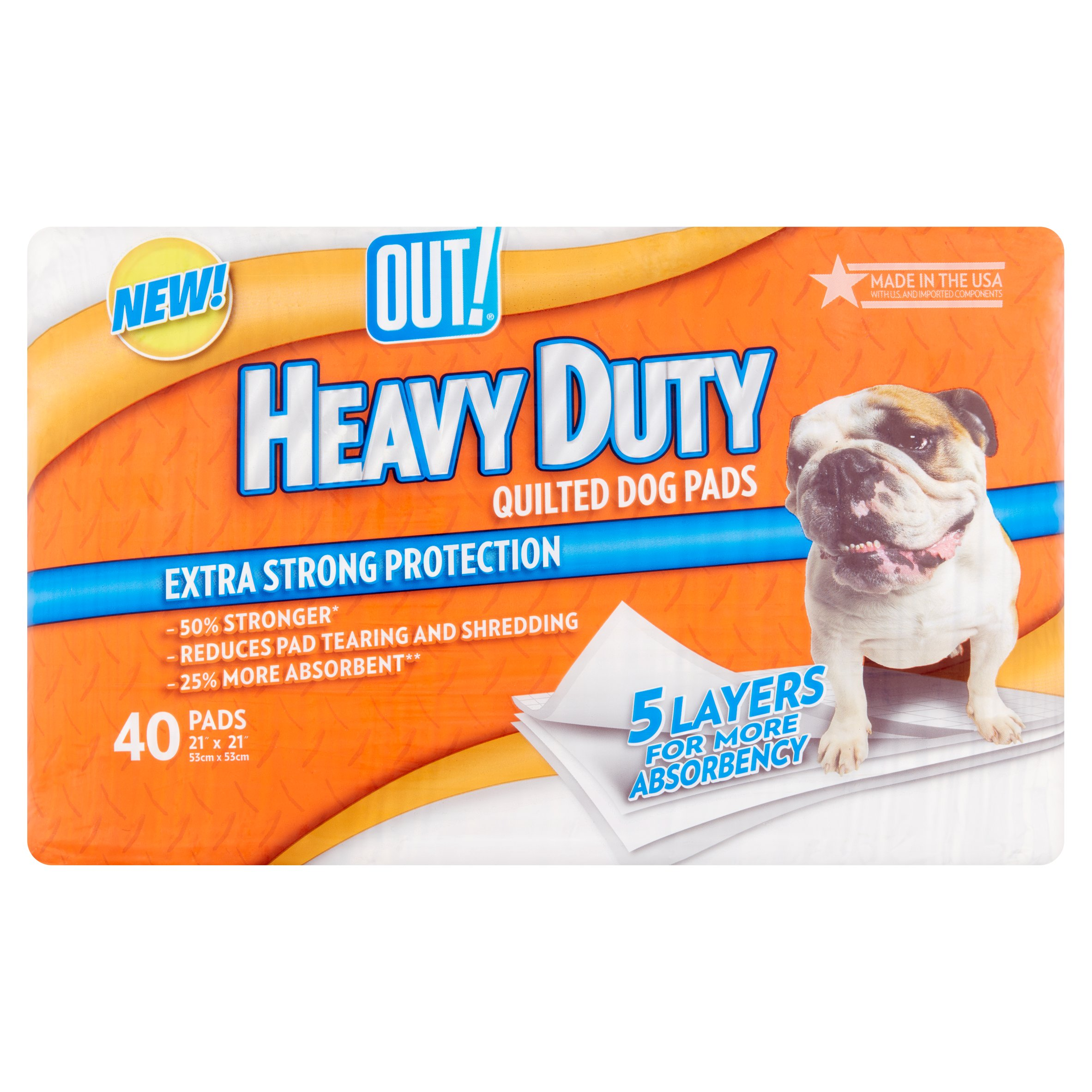 Out! heavy duty quilted dog pads, 21 in x 21 in, 40 count