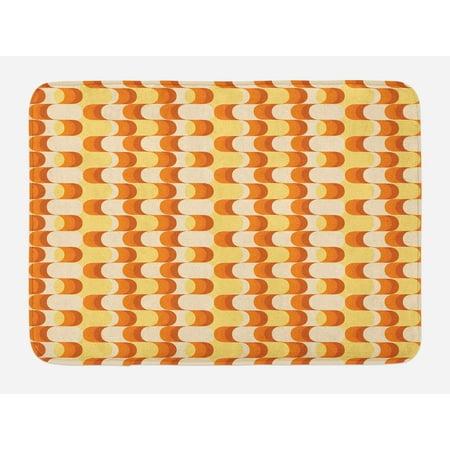 (Retro Bath Mat, Wavy Pattern Half Moon Shapes Vintage Art Graphic Design in Different Tones, Non-Slip Plush Mat Bathroom Kitchen Laundry Room Decor, 29.5 X 17.5 Inches, Orange Yellow Dust, Ambesonne)