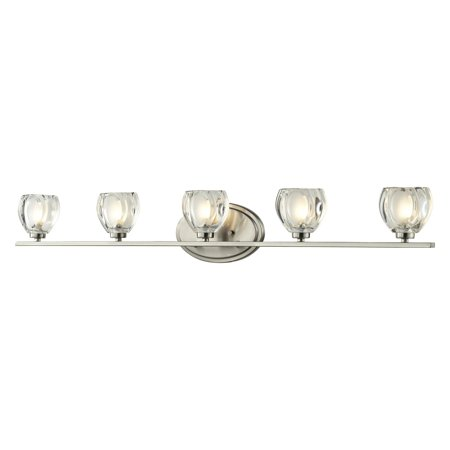 Ada Compliant Bar - Z-Lite 3022-5V Hale 5-Light ADA Compliant Bathroom Vanity Light with Sand Blasted Glass Shade