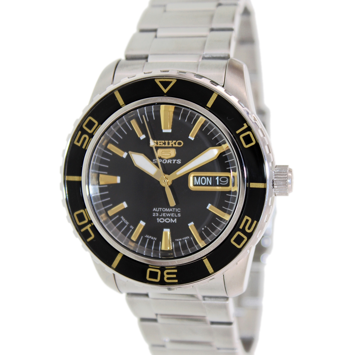 Seiko Men's 5 Automatic SNZH57K Black Stainless-Steel Automatic Watch