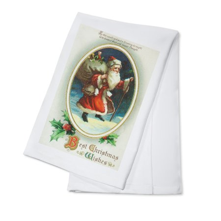 Best Christmas Wishes Scene with Santa Holding Big Bag (100% Cotton Kitchen