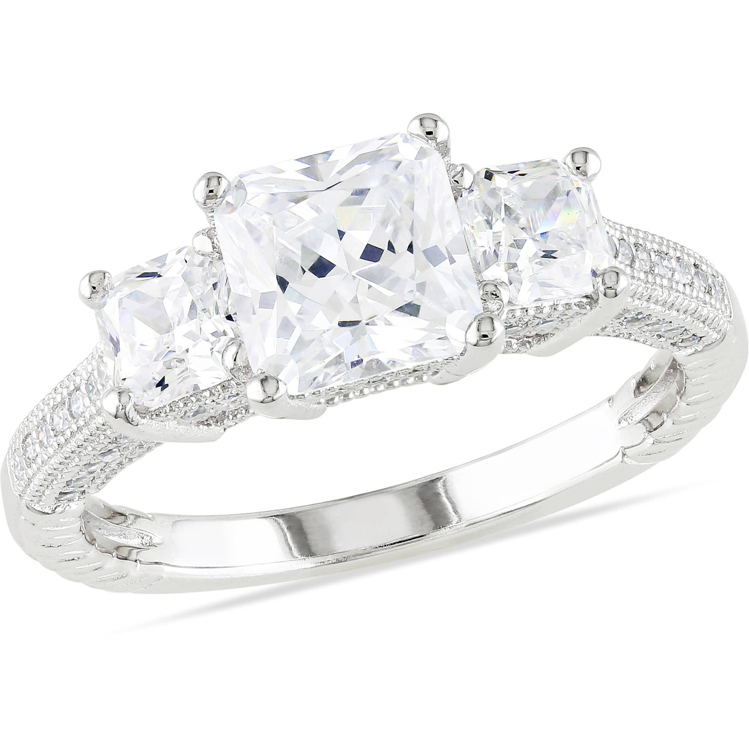 Miabella 5-1/6 Carat T.G.W. Square and Round-Cut Cubic Zirconia Sterling Silver Three Stone Engagement Ring