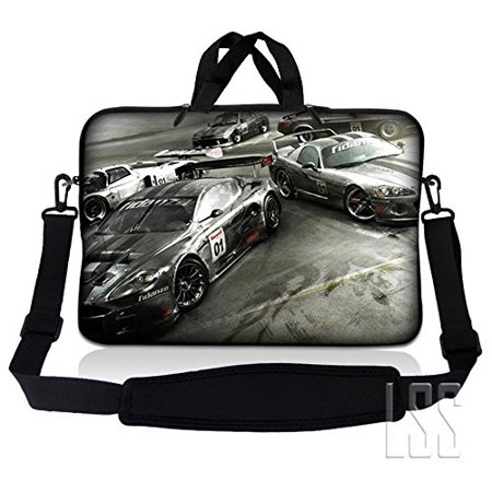 lss 15.6 inch laptop sleeve bag compatible with acer, asus, dell, hp, sony, macbook and more | carrying case pouch w/ handle & adjustable shoulder strap,racing cars ()