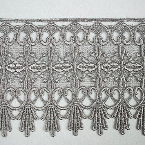 """Altotux 4.75"""" Embroidered Floral 12 Colors Floral Venice Lace Trim Guipure By Yd (Black)"""