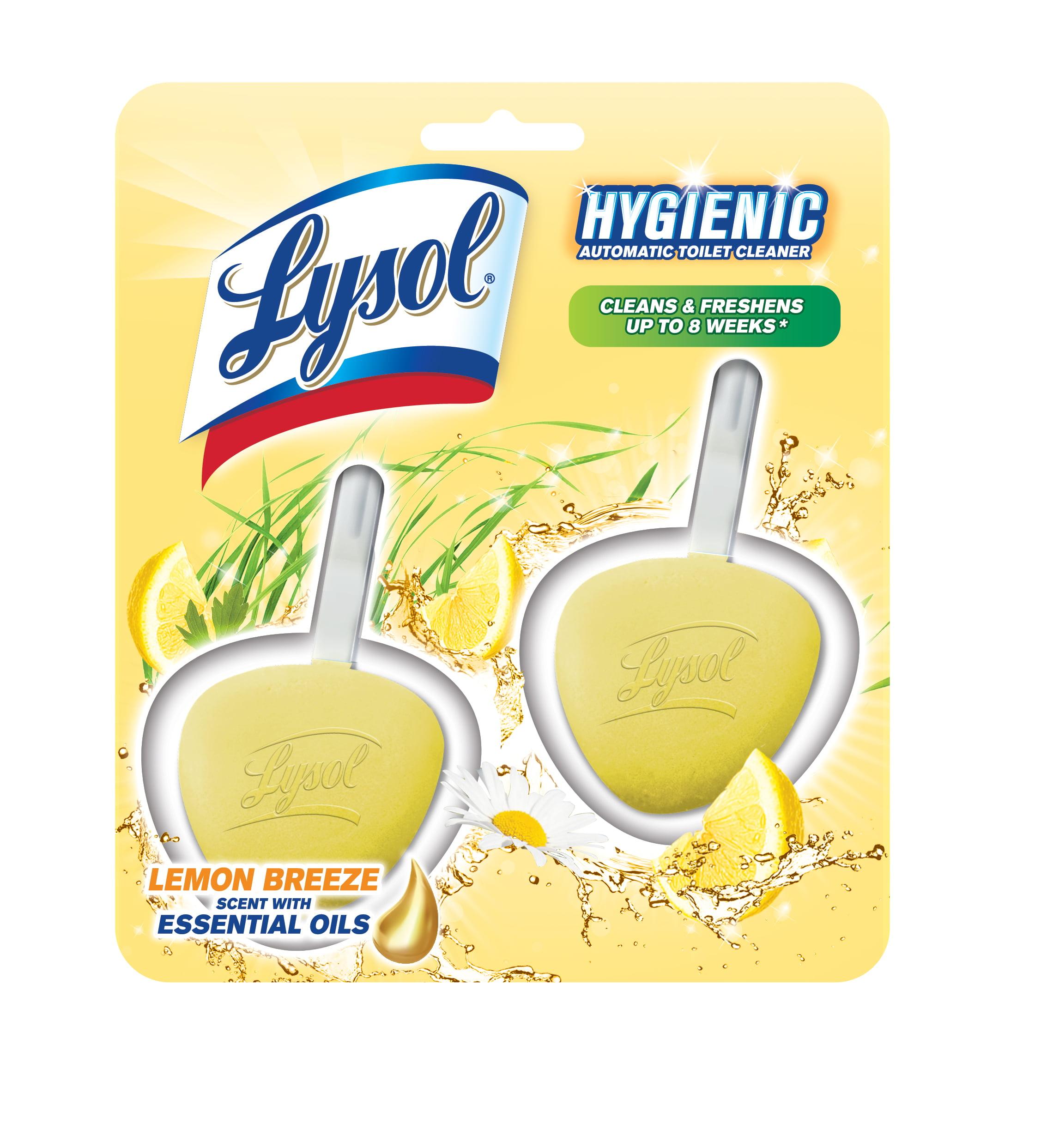 (3 pack) Lysol Hygienic Automatic Toilet Bowl Cleaner, Lemon Breeze, 2ct